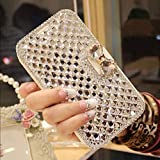 Goodaa Bling Diamond Bowknot Leather Case for Samsung Galaxy S5 Silver / White