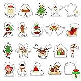 Navidad Cortadores de Galletas, 20 Piezas Navidad Moldes Metalicos para Reposteria Bizcocho Pastel Cookie Fondant Tarta Horno Formas, Navidad Decoración de Fiesta -Acero Inoxidable