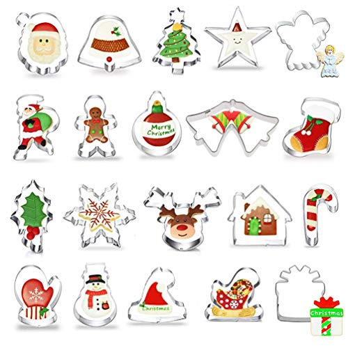 Christmas Cookie Cutter, 20 Piece Christmas Biscuit Cutters - Gingerbread Man, Christmas Tree, Santa Face, Star, Reindeer Face, Snowman & More Shapes for Fondant Cookie DIY Baking