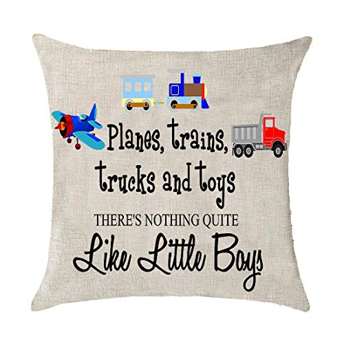 GAWEKIQE Planes Trains Trucks and Toys Engineering Cotton Linen Throw Pillow Cover Cushion Case Holiday Decorative 18