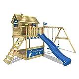 WICKEY Parco giochi in legno Smart Seaside Giochi da giardino con altalena e scivolo blu, Casa su palafitte da esterno con sabbiera e scala di risalita per bambini