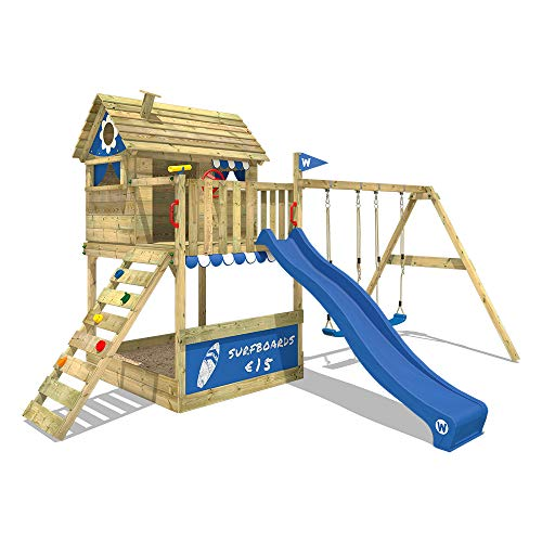 WICKEY Spielturm Klettergerüst Smart Seaside mit Schaukel & blauer Rutsche, Stelzenhaus mit Sandkasten, Kletterleiter & Spiel-Zubehör