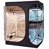 TopoLite 60'x48'x80' 2-in-1 Indoor Grow Tent Room Propagation and Flower Reflective Mylar Hydroponic Growing Plant Room (60'x48'x80' Lodge Propagation Tent 2-in-1)