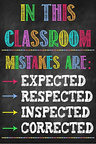 KING PRINT Teacher Canvas Wall Art in This Classroom Mistake are Expected Respected Inspected Corrected Poster Hanging Painting Paper Watercolor Living Classroom Home Decor Wrap Frame