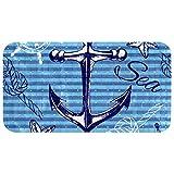 Rutschfeste Badewannenmatte, nautisches Anker-Rad, Seestern auf blauen Streifen, PVC-Duschmatten mit starkem Saugnapf, für Badezimmer, 37,3 x 68,3 cm
