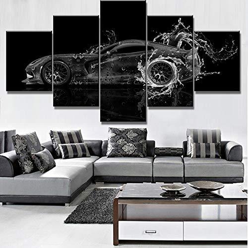 Uhgkt Canvas Schilderijen Moderne Decoratieve 5 Stuks Canvas Art Dodge Water Canvas Muurdecoratie Auto Poster voor ns Muurdecoratie