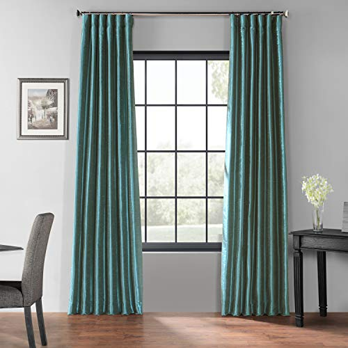 HPD Half Price Drapes PDCH-KBS14BO-84 Blackout Vintage Textured Faux Dupioni Curtain (1 Panel), 50 X 84, Peacock