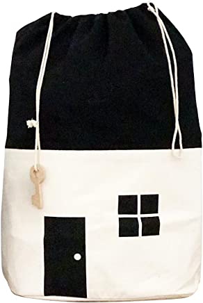 Toy House Storage Bag for Organizing Kid s Toys with Unique Drawstring  amp  Key Bag  White