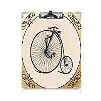 印刷者 クリップボード 用箋挟 クロス貼 A4 短辺とじ 自転車 ファイルボード (2個)レトロな大きなと小さな疲れた自転車ビンテージラウンドフレーム花の背景自由Bo放に生きる
