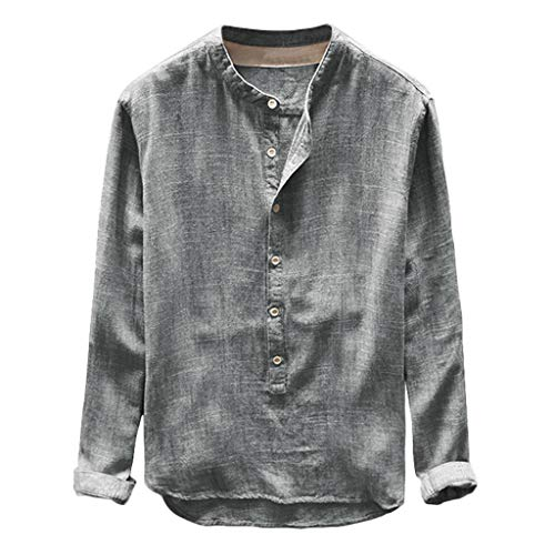 iHAZA Fashion Mens Autumn Winter Button Casual Linen and Cotton Long Sleeve Top Blouse Gray