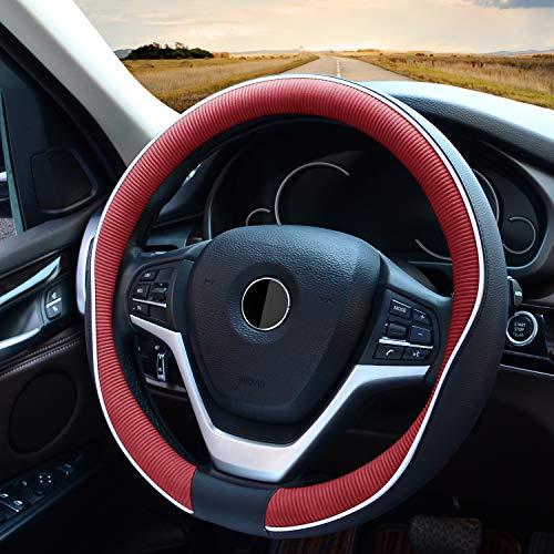 Cubierta para volante de coche, cuero de fibra, universal, 38 cm, para hombre, duradera y sin olor, Negro y rojo