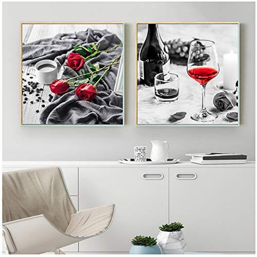 YCCYI Leinwand Wandkunst Rotwein Tasse Rose Bild Home Decor Wandkunst Leinwand Malerei Kunstdruck und Poster für Restaurant Wohnzimmer 30x30cm (12x12 Zoll) x2 Kein Rahmen