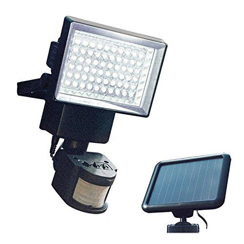 GardenKraft 23450 - Luce di sicurezza con sensore di movimento solare, 60 LED per esterni, ad energia solare, portata fino a 12 m, regolazione automatica del periodo di illuminazione
