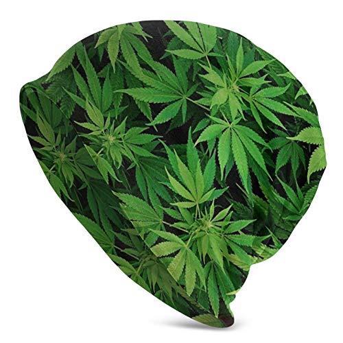 AEMAPE Cannabis Leaf Green Weed Marijuana Gorro de Punto para Adultos Slouchy Soft Beanie Hat Skully Cap Half Balaclava Hedging Caps