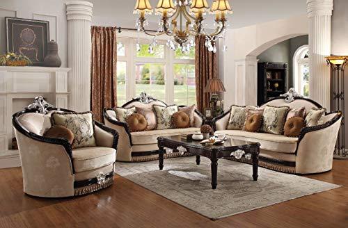 Esofastore Traditional Living Room Furniture 3pc Sofa Set Tan Fabric Curved...