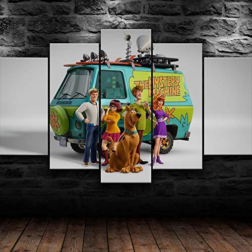 Impresión En Lienzo 5 Piezas Cuadro Sobre Lienzo,5 Piezas Cuadro En Lienzo,5 Piezas Lienzo Decorativo,5 Piezas Lienzo Pintura Mural,Regalo,Decoración Hogareña Scooby Doo 3D Scoob Dibujos Animados