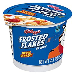 Kellogg's Breakfast Cereal in a Cup, Frosted Flakes, Fat-Free, Single Serve, 2.1 oz Cup