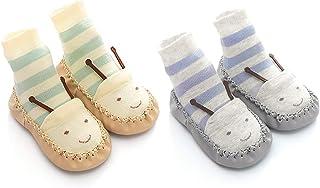 Wazi, Wazi Zapatos de bebé Calcetines de bebé, niño Suave de Fondo Calcetines, 2 Pares de bebé for bebé Suelo Niño Calcetines (Color : Combination 04, tamaño : Sole Length 12cm)
