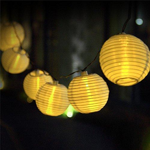 Uping® Solar Lichterkette 20er led Lampion Laterne für Party, Garten, Weihnachten, Halloween, Hochzeit, Beleuchtung Deko in Innen und Außenbereich usw. Wasserdicht 4,5M warm weiß [Energieklasse A+++]