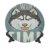 Placa decorativa de cerámica Alaskan Malamute de 15,24 cm, diseño retro con cara de perro, copos de nieve, plato de cena decorativo para Navidad