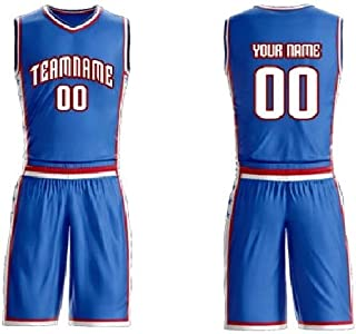 Personalized 2 Piece Set Basketball Jersey Sportswear Team Uniforms. Custom Name/Number on Front & Back(V Neck)