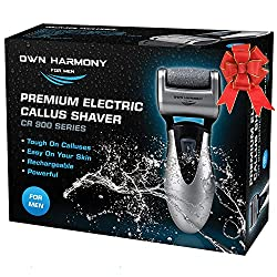 top 10 foot scrapers Electric Foot Call Remover: Unique Harmony-3 Roller Rechargeable Men's Pedicure Tool …