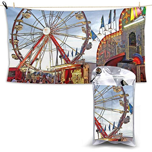 XCNGG Quick Dry Bath Towel, Absorbent Soft Beach Towels, Carnival Day Ferris Wheel for Camping, Backpacking, Gym, Travelling, Swimming,Yoga 28.7'' X 51''
