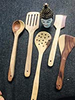 SKAFA Handmade Wooden Serving and Cooking Spoon Kitchen Tools Utensil, Set of 5