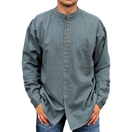 NADUR Stehkragenhemd - Irisches Stehkragenhemd - SW 254 Stripe (L)
