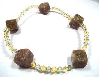 8 Inch Autumn Jasper Cubes Gemstone Stretch Bracelet