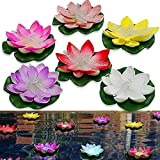 LOGUIDE Floating Pool Lights,LED Color Changing Floating Lotus Light,Battery Powered Waterproof Floating Pool Flower Lights for Wedding,Party,Pond,Garden Decorative(6 Pack,Dragonfly)