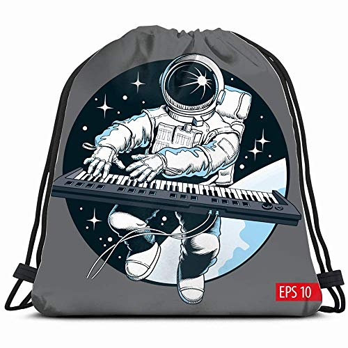 Astronaut Playing Piano Synthesizer Space Technology Drawstring Backpack Bag Sackpack Gym Sack Sport Beach Daypack for Girls Men & Women Teen Dance Bag Cycling Hiking Team Training