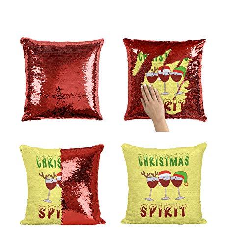 Funda de almohada con lentejuelas de vino de Navidad MRZ3910 divertida almohada con inserto de 40,6 x 40,6 cm, decoración decorotive funda de almohada para niña y él (añadir inserto)