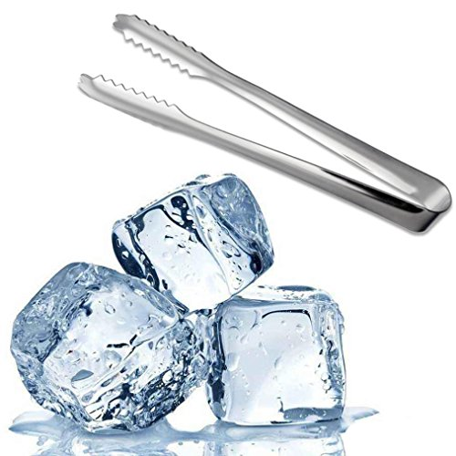 Sinwo Kitchen Stainless Steel Ice Tongs Food Tongs Kitchenware Food Bar Buffet BBQ Sweet Wedding Party (silver)