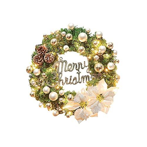 AUPSU Couronne de Noël artificielle floquée avec décorations mixtes et lumières LED, 40 cm