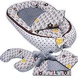 6-tlg PALULLI Baby Ausstattung-Set - Babynest mit Stillkissen, Baby-Matratze, Kuscheldecke, Flachkissen, Nackenkissen, kuschelweich für Babys (WALD GRAU)
