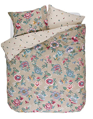 Pip Studio Bettwäsche Set Berry Bird Khaki Wendeoptik 2tlg Baumwolle Brushed Twill Blumen, 135x200cm