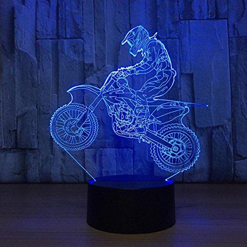 3D Illusion Lampe LED Nachtlicht, EASEHOME Optische 3D-Illusions-Lampen Tischlampe Nachtlichter 7 Farben Berührungsschalter Schreibtischlampe mit 150cm USB-Kabel Kinder Nachtlampe, Motorrad