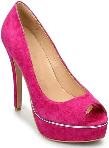 Shengjuanfeng Plateforme Escarpins pour Femmes Véritable en Daim Daim supérieure à Bout Ouvert 14cm Sandales Stiletto Chaussures Habillées Classiques Chaussures (Couleur   Rose rouge, Taille   36 EU)  plus abordable