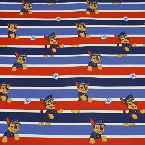 Nano Softshell Paw Patrol Stoff Chase, streifen, rot/blau (25cm x 145cm)