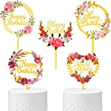 5 Pieces Gold Happy Birthday Cake Toppers Flower Acrylic Cake Toppers Glitter Dessert Toppers for Birthday Party Anniversary Cake Pastries Decorations, 5 Styles