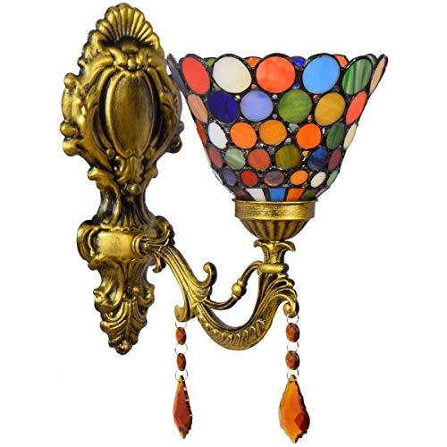 BJLWTQ Lámpara de Pared decoración de Estilo Bohemio del vitral Faros británica Moderna Pastoral de Cristal de Noche lámpara de Pared de la lámpara de Pared del Pasillo Balcón