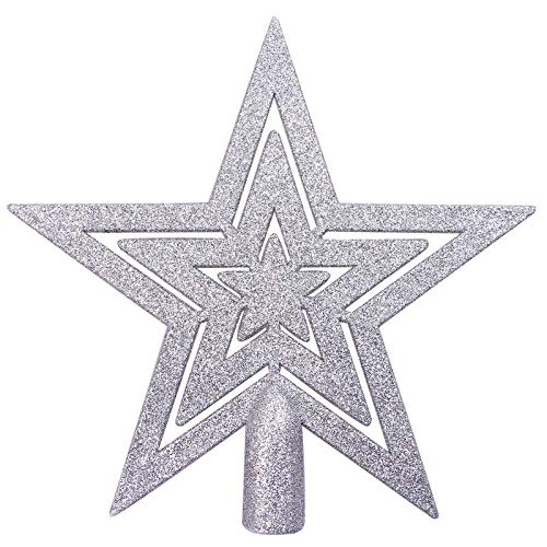 Aneco Glitter Star Christmas Tree Topper Decoration Shatterproof Star Treetop for Christmas Tree Ornament