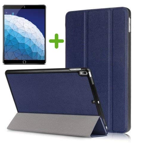 Case2go - Case for iPad Air 10.5 (2019) - Slim Tri-Fold Book Case - Lightweight Smart Cover + Screenprotector - Navy Blue