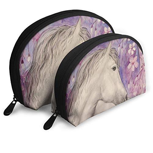 Beau Cheval Sakura Blossom Tree Sac à cosmétiques en forme de coquillage Portable Sacs de rangement de luxe Trousse de toilette
