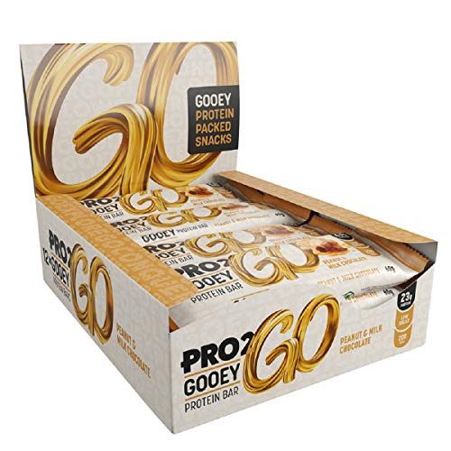 PRO 2GO High Protein Gooey Bar Box, Peanut & Milk Chocolate Flavour, Pack of 12 x 60g bars