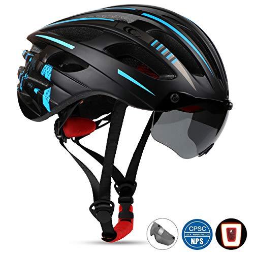 Shinmax Fahrradhelm, MTB Herren Damen Verstellbar Helm mit Wiederaufladbare Led-Rücklicht und Abnehmbarem Magnet-Visier