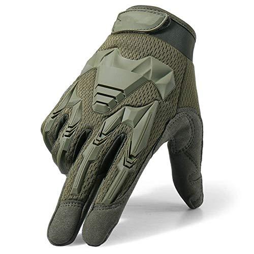 XYBB Tactical Military Handschuhe Armee Paintball Schießen Airsoft Kampf-Fahrrad-Gummischutz Anti-Skid-Handschuh Männer Frauen (Color : Green, Gloves Size : X-Large(23cm 24cm))