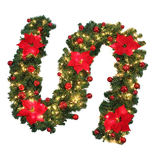 Your's Bath Weihnachtsgirlande mit Beleuchtung (2,7m) Tannengirlande Rattan für Innen und Außenbereich Treppengeländer Weihnachtsdekoration (Rot)