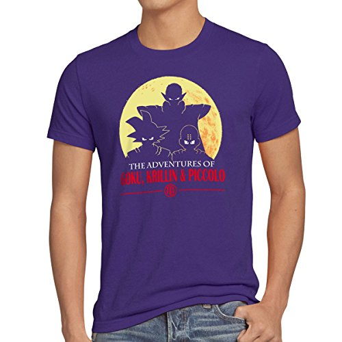 style3 The Adventures of Goku, Krillin and Piccolo T-Shirt Homme, Taille:2XL;Couleur:Violet